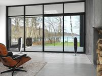Nowoczesny minimalistyczny salon designerski sprzet audio na betonie