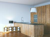 Kuchnia otwarta na salon wykończona drewnem – minimalizm i natura w aranżacji kuchni
