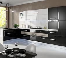 Kuchnia czarno-biała. Białe i czarne meble kuchenne w aranżacji kuchni. Stolkar